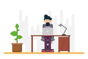 Businessman working at desk vector