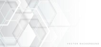 Abstract white and gray geometric hexagon overlapping design vector