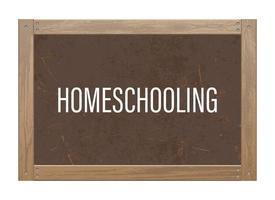 Blackboard with homeschooling text vector