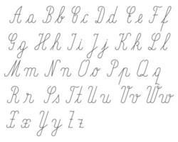 Alfabeto escrito a mano con letras grandes y pequeñas.