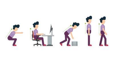 Hombre de negocios que muestra una postura correcta en diferentes situaciones. vector