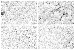 Dry cracked earth texture set vector