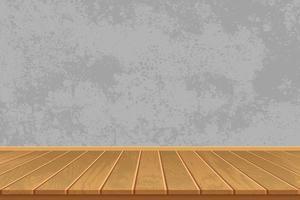habitación vacía con piso de madera y muro de hormigón vector