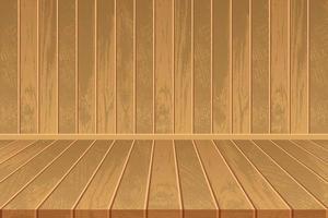 Empty room with wooden floor and wooden wall vector