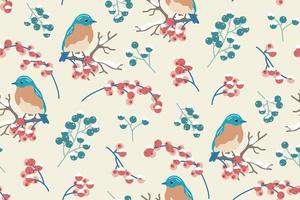 Winter bird, branches and berries seamless pattern