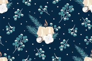 Winter berries and candle seamless pattern vector
