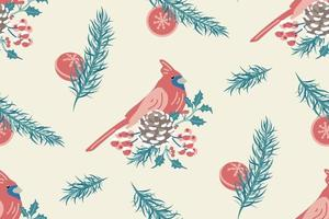 Winter bird and branches seamless pattern