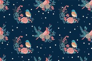 Winter bird and flowers seamless pattern vector
