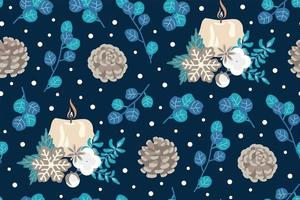 Winter candle and blue flowers seamless pattern vector