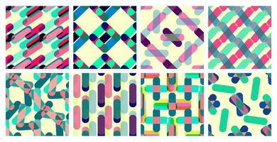 Collection of abstract bright geometric seamless patterns