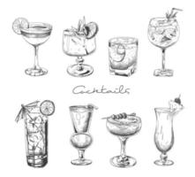 Hand drawn cocktails set vector