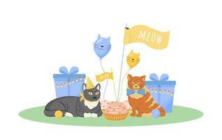 Cat birthday party vector