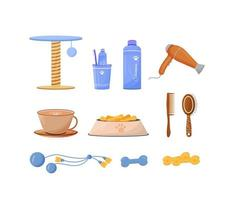 conjunto de objetos de cuidado de mascotas