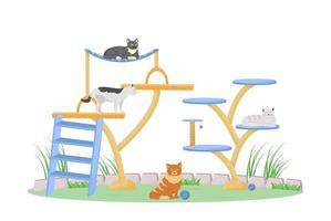 gatos en la torre de juegos