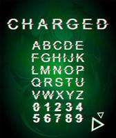 Charged glitch font template vector