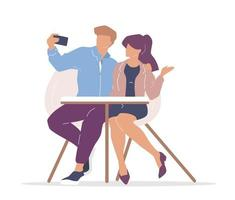 Couple in cafe taking a selfie vector