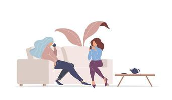 Girls drinking tea on couch vector