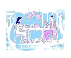 Family meal setting vector