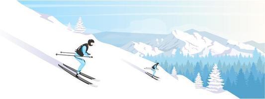 Ski resort holiday vector
