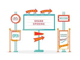 Grand opening vintage board sign