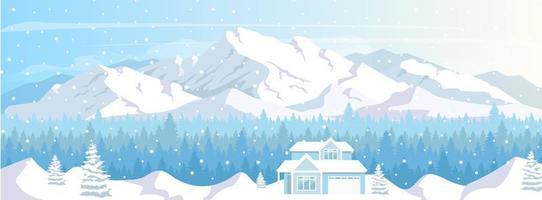 Ski resort house vector
