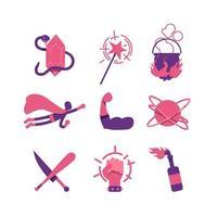 Conjunto de objetos de fantasía y cómic.