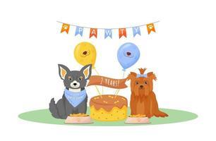 Dog birthday party vector