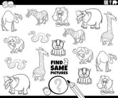 Find two same animal characters color book game vector