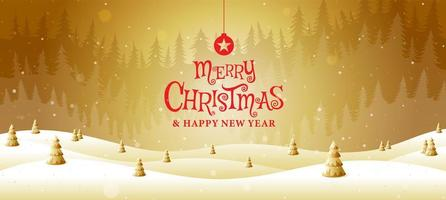 Merry Christmas golden landscape fantasy vector