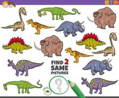 Find two same prehistoric animals task for kids vector