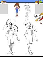 Dibujar y colorear hoja de trabajo con niña. vector