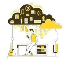 estilo de línea fina de almacenamiento en la nube