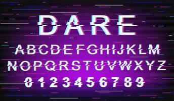 Dare glitch font template vector