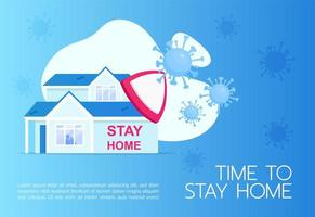 Time to stay home banner vector