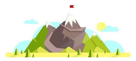 montaña con bandera roja en la parte superior