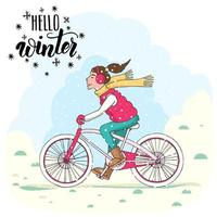 Girl in vest and warmed headphones on a bicycle vector