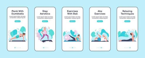 Fitness exercises onboarding mobile app screens