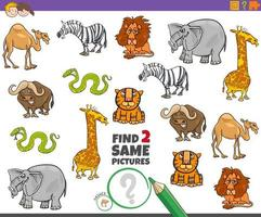 Find two same animals educational game for children vector