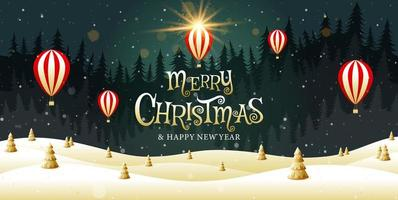 Merry Christmas golden landscape fantasy design vector