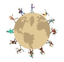 Humanity history around world vector