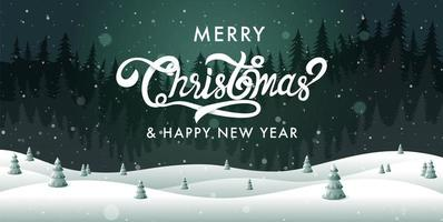 Merry Christmas, happy new year landscape vector