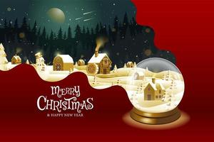 Merry Christmas snowglobe landscape fantasy design vector