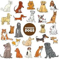 Cartoon purebred dog characters large set vector