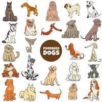 Cartoon purebred dogs characters large set vector