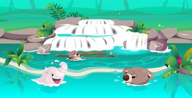 animales de la selva nadando