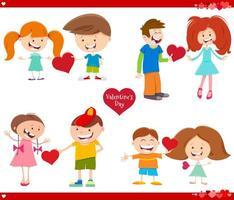 tarjetas de san valentin set cartoon