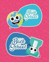composición de regreso a la escuela con personajes kawaii vector