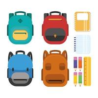 School materials icon set