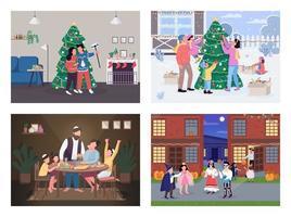 celebración navideña tradicional vector