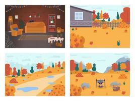 escenas de vacaciones de otoño vector